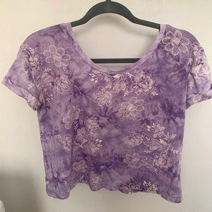 Urban Outfitters Purple Tie Dye Floral T-shirt